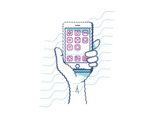 Eksempel på at se på en mobiltelefon med forvrænget syn, når du har  bygningsfejl.