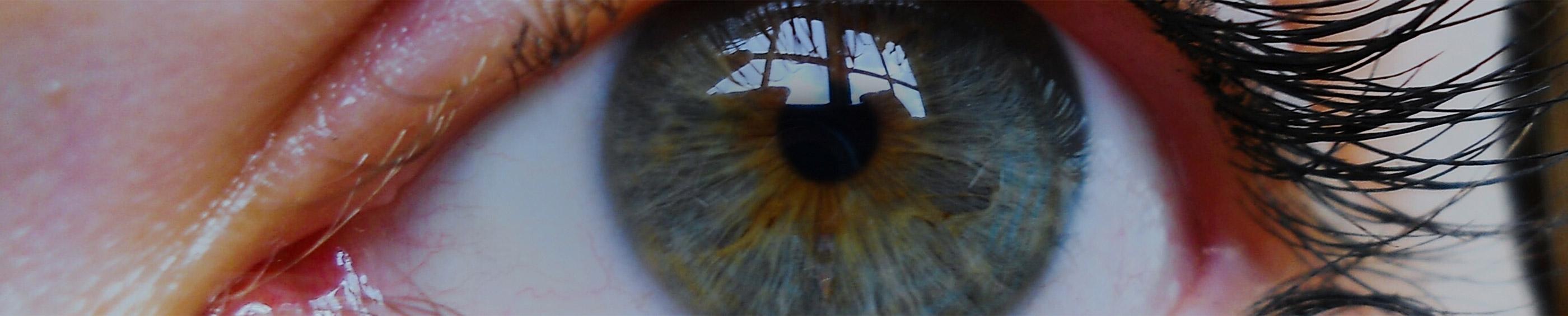Nærbillede af en kvindes øje med kontaktlinser