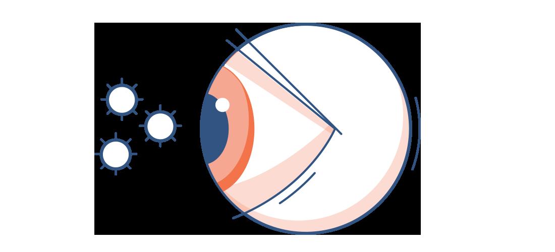 Illustration af et rødt øje med pollenpartikler i luften omkring det