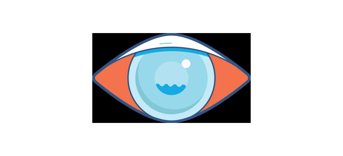 Illustration af et sløret rødt øje