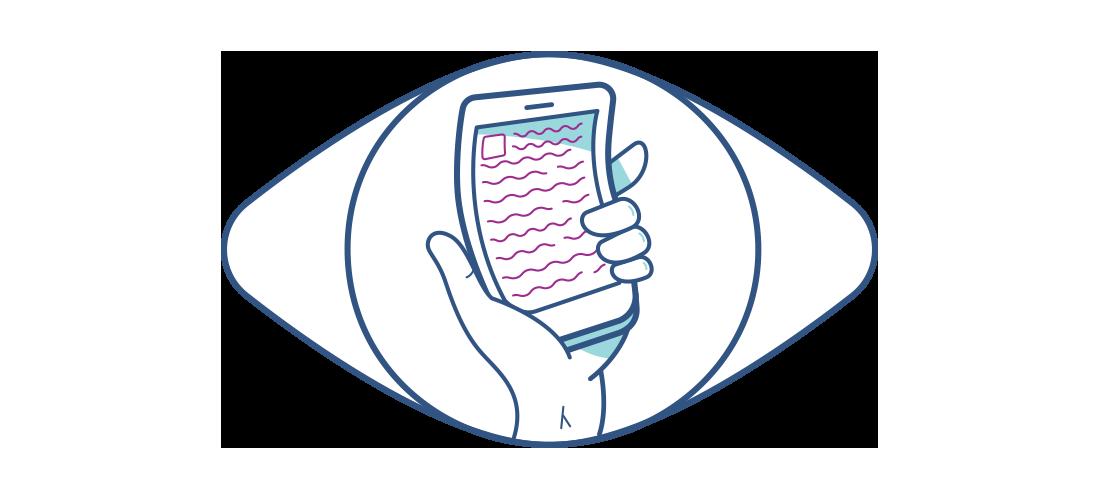 Illustration af en forvrænget mobiltelefon set gennem et øje